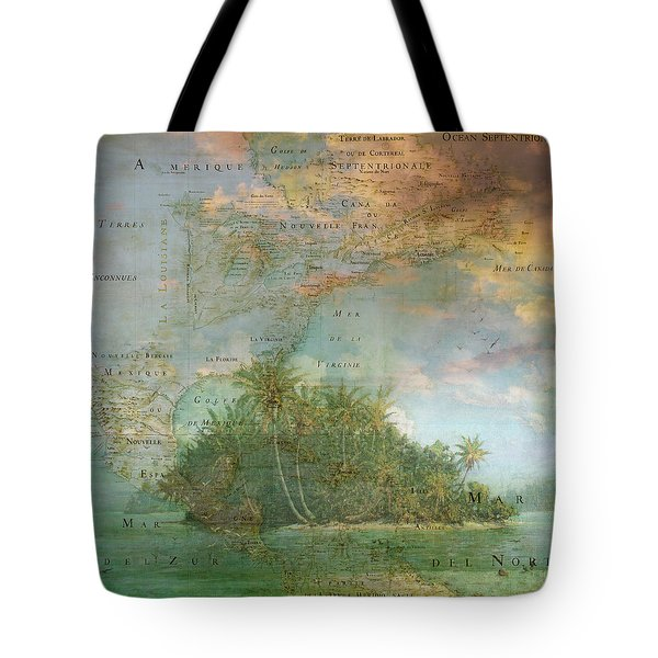 Tote Bag featuring the photograph Antique Vintage Map Of North America Tropical Ocean by Debra and Dave Vanderlaan