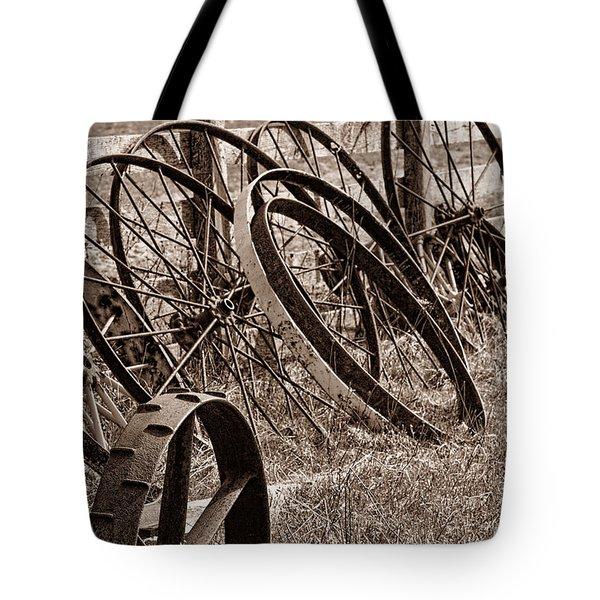 Antique Wagon Wheels II Tote Bag