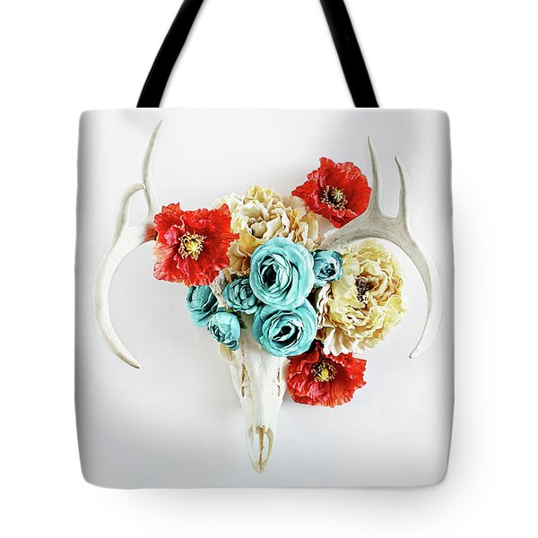 Tote Bag featuring the photograph Antlers And Florals by Stephanie Frey
