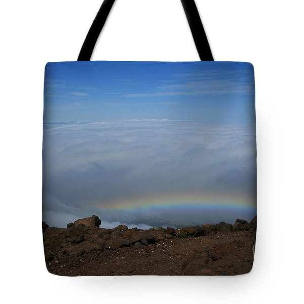 Anuenue - Rainbow At The Ahinahina Ahu Haleakala Sunrise Maui Hawaii Tote Bag