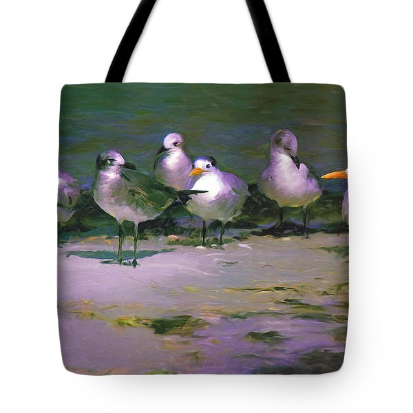Tote Bag featuring the painting Any New Gossip by David  Van Hulst
