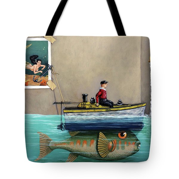 Tote Bag featuring the painting Anyfin Is Possible - Fisherman Toy Boat And Mermaid Still Life Painting by Linda Apple
