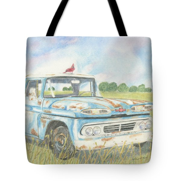 Tote Bag featuring the drawing Apache Out To Pasture by Arlene Crafton