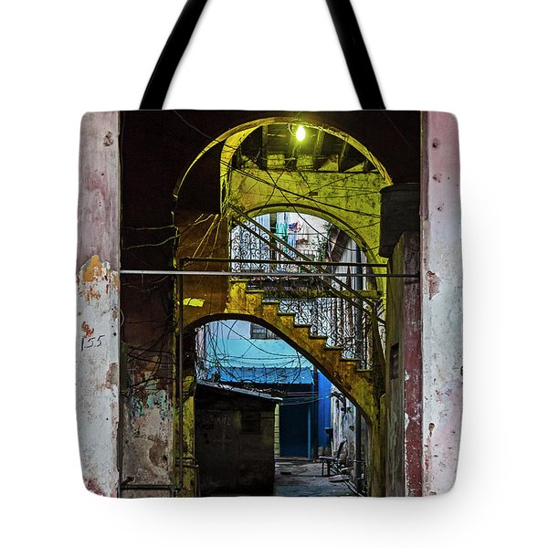 Tote Bag featuring the photograph Apartment Enrance Havana Cuba Near Calle C by Charles Harden