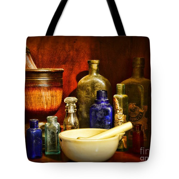 Apothecary - Tools Of The Pharmacist Tote Bag by Paul Ward