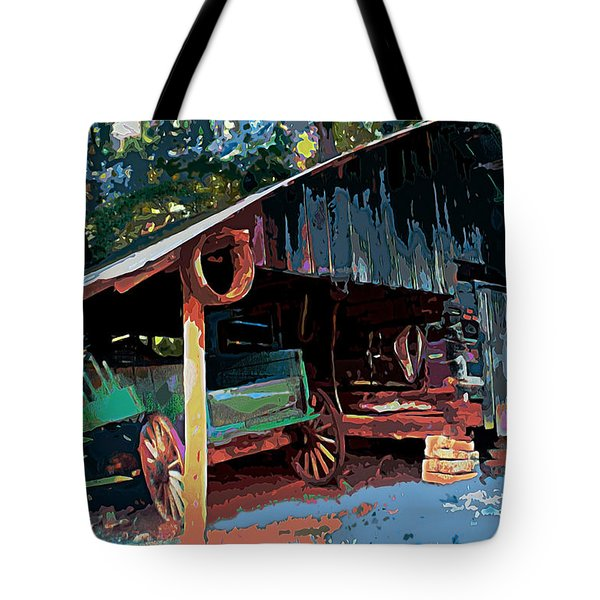 Appalachia Wagon Waiting For Repair  Tote Bag