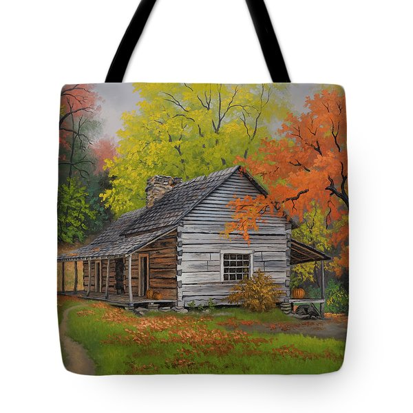 Tote Bag featuring the painting Appalachian Retreat-autumn by Kyle Wood