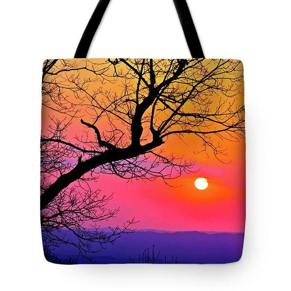 Appalcahian Sunset Tree Silhouette  #1 Tote Bag