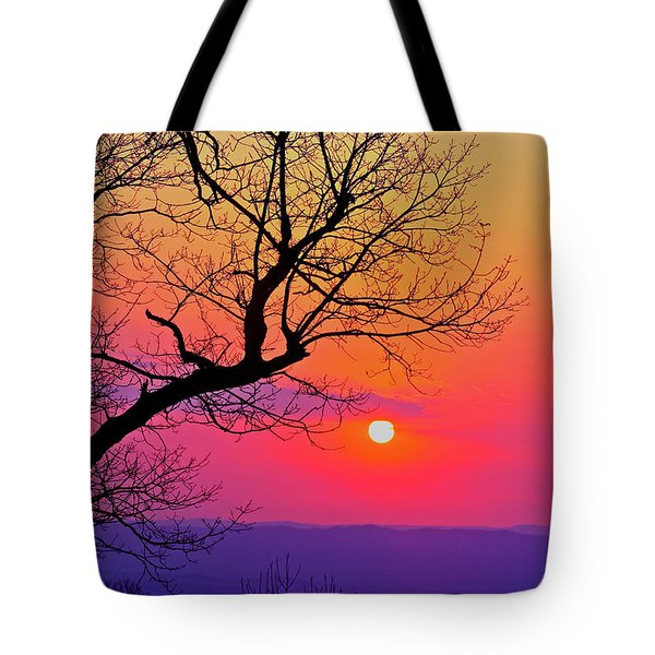 Appalcahian Sunset Tree Silhouette #2 Tote Bag