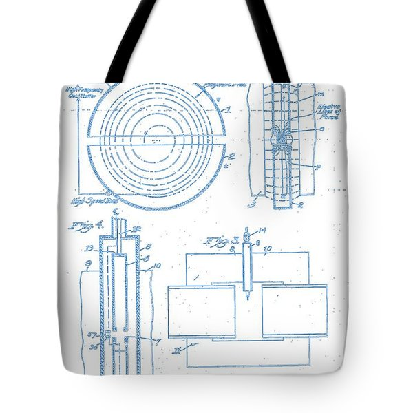 Apparatus For The Acceleration Of Ions Cyclotron Ernest O. Lawrence 1934 Blueprint Drawing 2 Tote Bag