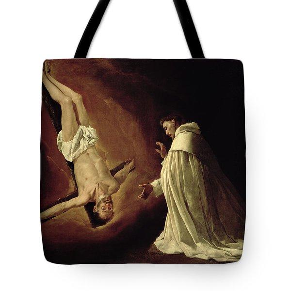Appearance Of Saint Peter To Saint Peter Nolasco Tote Bag by Francisco de Zurbaran