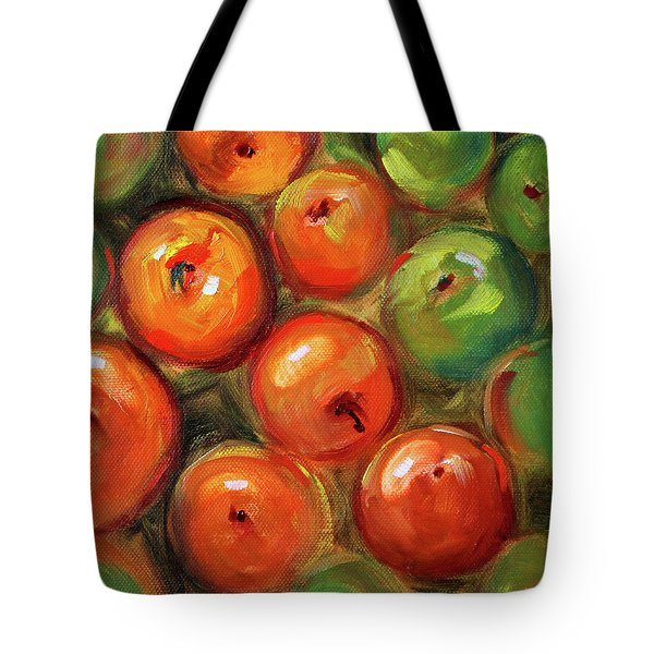 Tote Bag featuring the painting Apple Barrel Still Life by Nancy Merkle