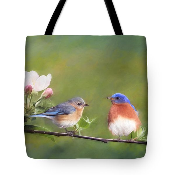 Apple Blossoms And Bluebirds Tote Bag