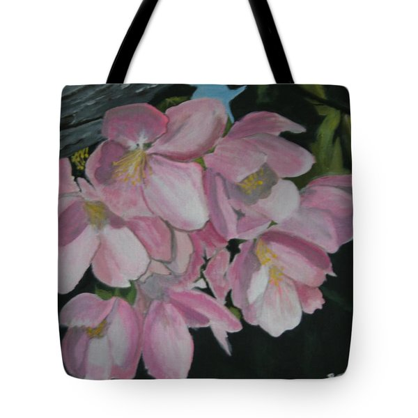Tote Bag featuring the painting Apple Blossoms by Betty-Anne McDonald