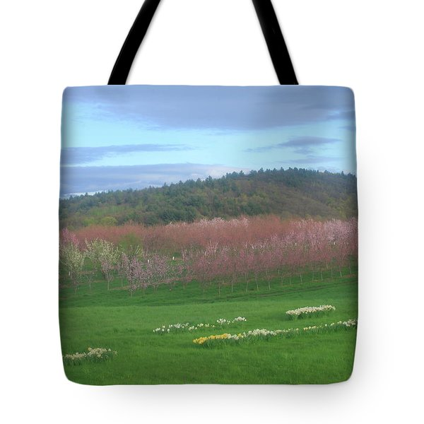 Apple Blossoms In Spring Tote Bag by John Burk