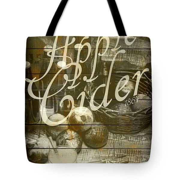 Apple Cider Sign Printed On Rustic Wood Planks Tote Bag