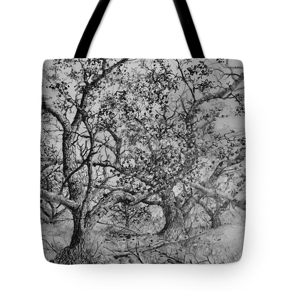 Tote Bag featuring the drawing Apple Orchard by Jim Hubbard