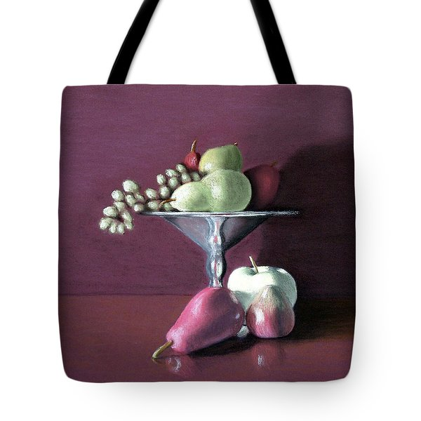 Apple  Pears And Grapes Tote Bag