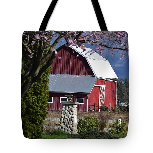 Apple Tree Pink And Barn Red Tote Bag