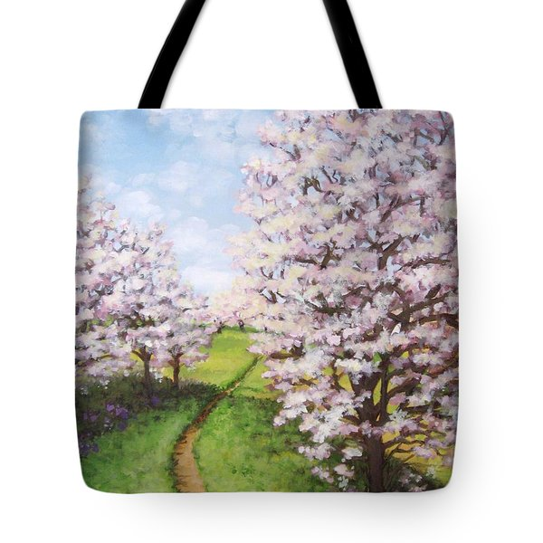 Apple Trees Along The Path Tote Bag by Inese Poga