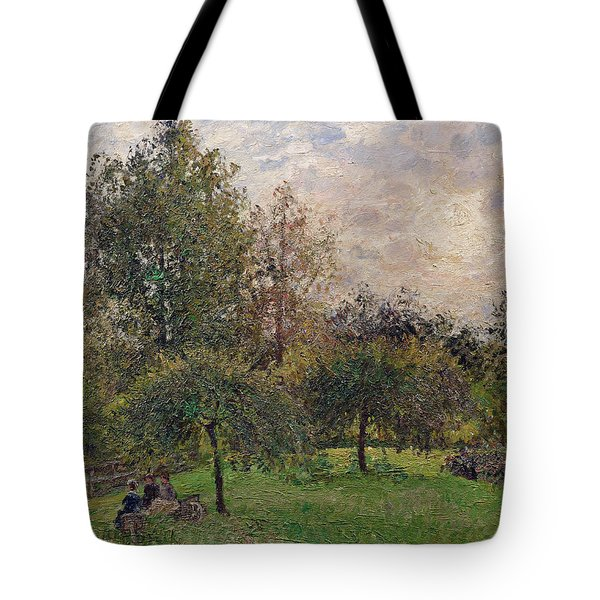 Apple Trees And Poplars In The Setting Sun Tote Bag by Camille Pissarro