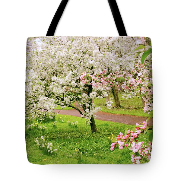 Apple Trees In Bloom Tote Bag by Jessica Jenney
