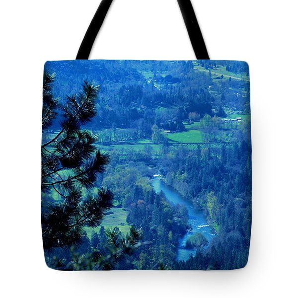 Tote Bag featuring the photograph Applegate River From On Top Of Bolt Mountain by Marie Neder