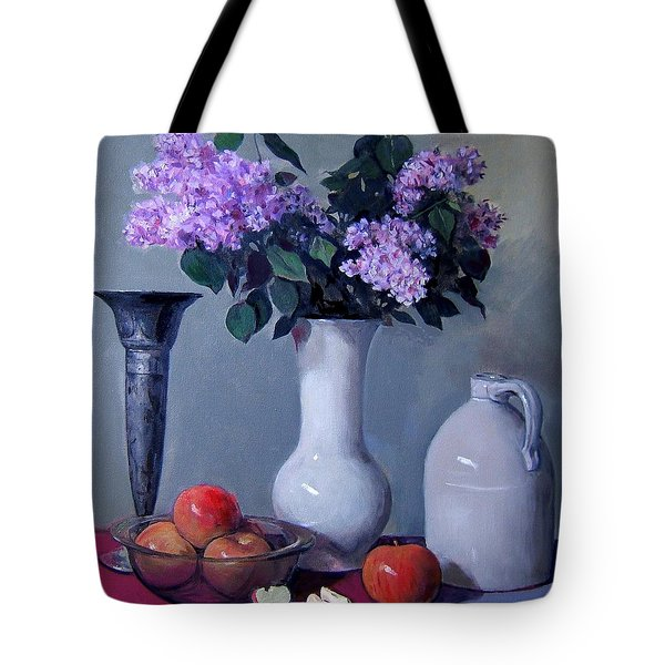 Apples And Lilacs, Silver Vase, Vintage Stoneware Jug Tote Bag