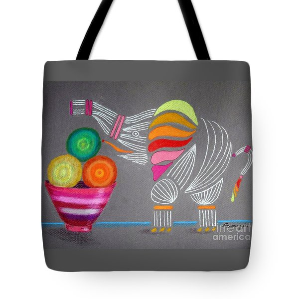 Apples And Oranges And Elephants, Oh My -- Whimsical Still Life W/ Elephant Tote Bag