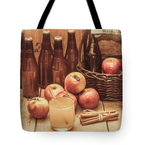 Apples Cider By Wicker Basket On Wooden Table Tote Bag