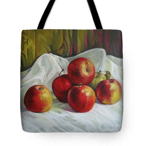 Tote Bag featuring the painting Apples by Elena Oleniuc