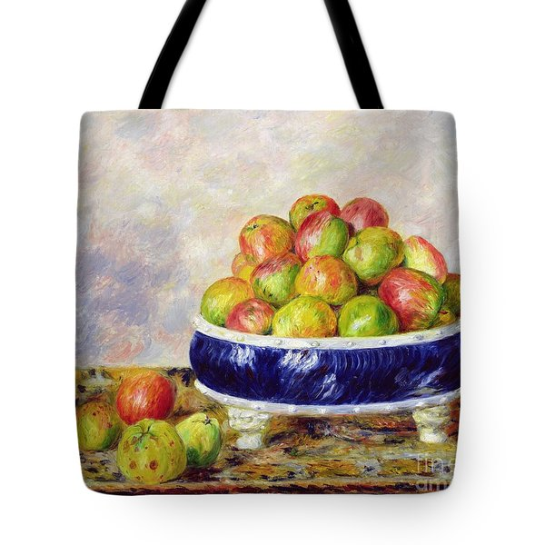 Apples In A Dish Tote Bag by  Pierre Auguste Renoir