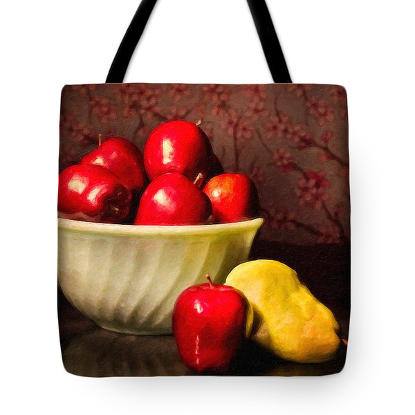 Apples In Bowl With Pear Tote Bag