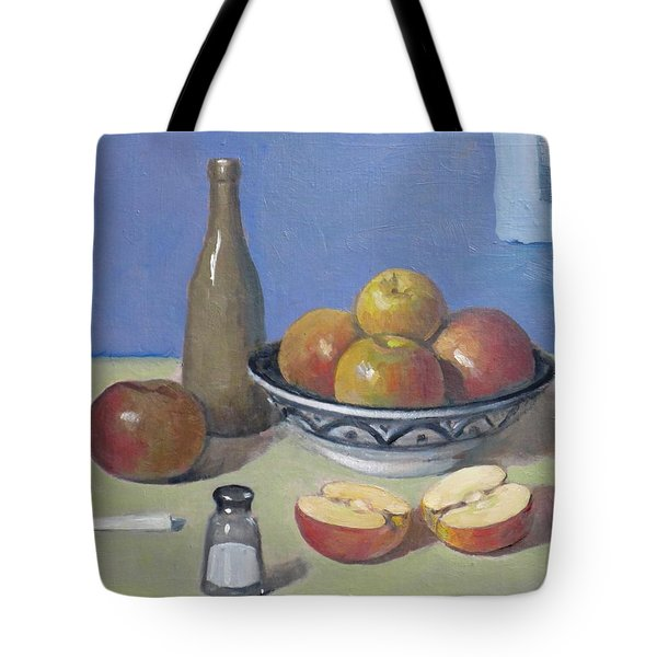 Apples In Moroccan Bowl, Salt Shaker And Vintage Bottle Tote Bag