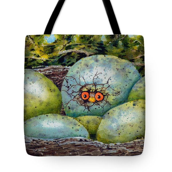 Tote Bag featuring the painting Apprehension by Sam Sidders