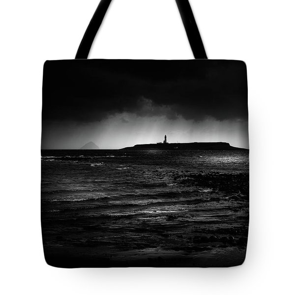 Approaching Storm, Ailsa Craig And Pladda Island Tote Bag