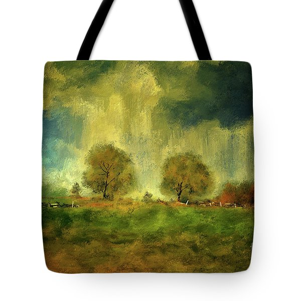 Tote Bag featuring the digital art Approaching Storm At Antietam by Lois Bryan