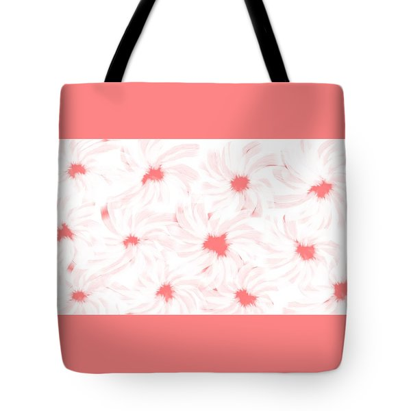 'apricot And White Flower Abstract 2' Tote Bag