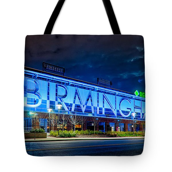 April 2015 -  Birmingham Alabama Baseball Regions Field At Night Tote Bag