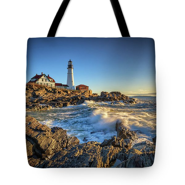 Tote Bag featuring the photograph April Morning At Portland Head by Rick Berk
