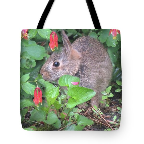 April Rabbit And Columbine Tote Bag by Peg Toliver