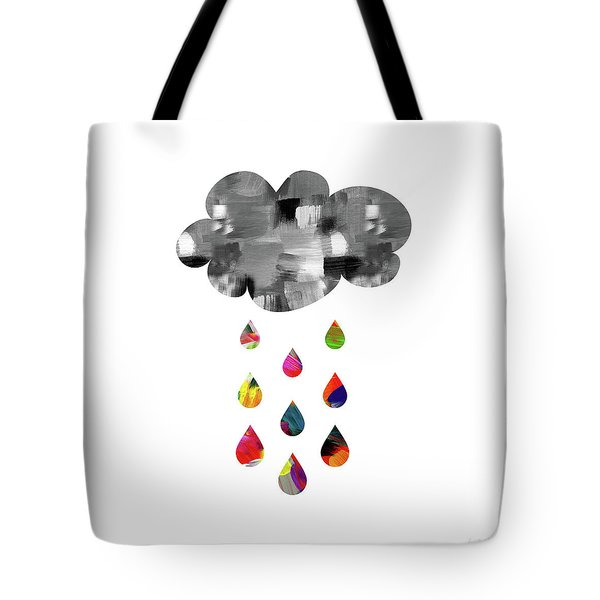 Tote Bag featuring the mixed media April Showers- Art By Linda Woods by Linda Woods