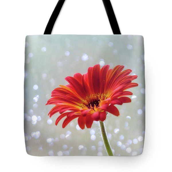 Tote Bag featuring the photograph April Showers Gerbera Daisy Square by Terry DeLuco