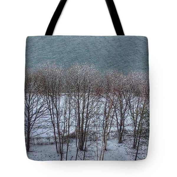 April Snow On Portland Trails Tote Bag