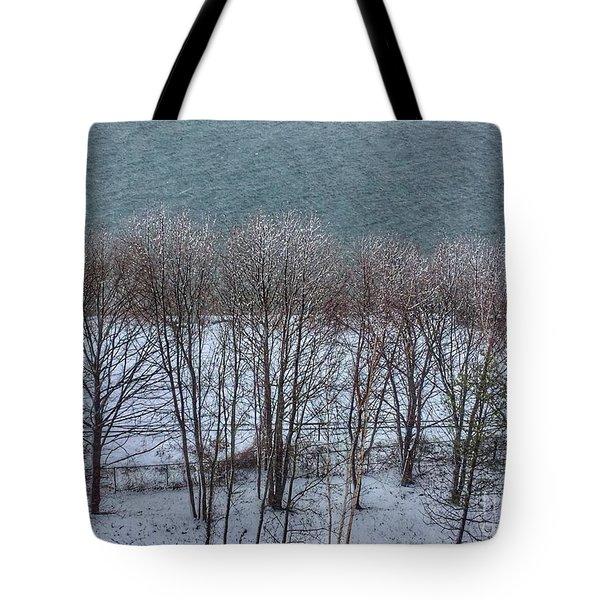 April Snow On Portland Trails Tote Bag