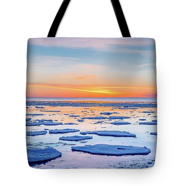 April Sunset Over Lake Superior Tote Bag