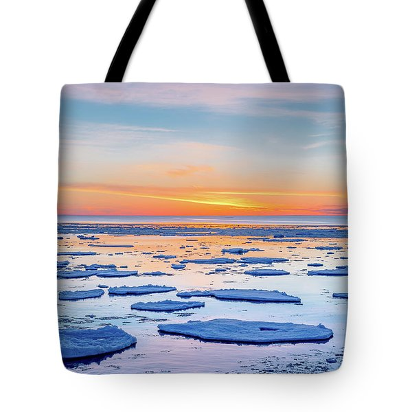 April Sunset Over Lake Superior Tote Bag
