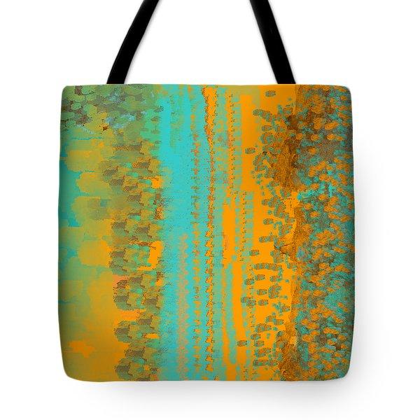 Aqua And Copper Abstract Tote Bag
