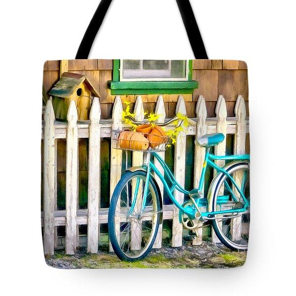 Aqua Antique Bicycle Along Fence Tote Bag
