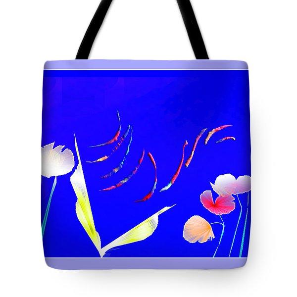 Tote Bag featuring the digital art Aqua Flora by Asok Mukhopadhyay
